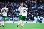 Stockholm 2014-05-04 Fotboll Superettan Hammarby IF - IFK V&auml;rnamo :  <br /> Hammarbys Thomas Guldborg Christensen har gjort 1-0 i den f&ouml;rsta halvleken och jublar med Hammarbys Kennedy Bakircioglu och lagkamrater<br /> (Foto: Kenta J&ouml;nsson) Nyckelord:  Superettan Tele2 Arena Hammarby HIF Bajen V&auml;rnamo jubel gl&auml;dje lycka glad happy