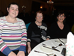 Suzanne and May McCullough and Brenda McGinn pictured at the Gardening Club annual Christmas Dinner in the Westcourt hotel. Photo:Colin Bell/pressphotos.ie