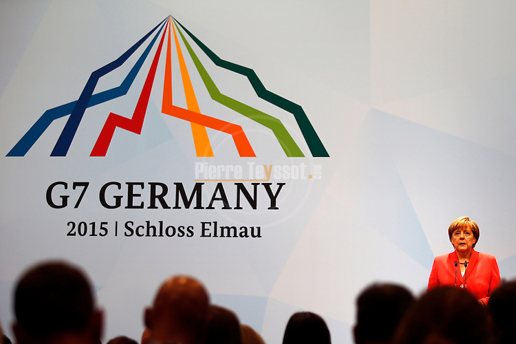 German Chancellor Angela Merkel gives final press conference at the G7 Summit in SCHLOSS ELMAU, Germany on June 8, 2015. <br /> &copy; Pierre Teyssot