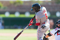 Scottsdale Scorpions second baseman Shed Long (6), of the Cincinnati Reds organization, swings at a pitch during an Arizona Fall League game against the Glendale Desert Dogs at Camelback Ranch on October 16, 2018 in Glendale, Arizona. Scottsdale defeated Glendale 6-1. (Zachary Lucy/Four Seam Images)