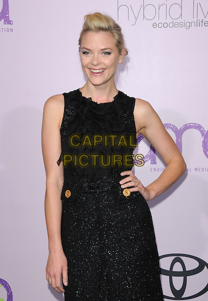 JAIME KING .The 18th Annual Environmental Media Awards held at The Ebell Theatre in Los Angeles, California, USA..November 13th, 2008.half length black sheer ruffled ruffles blouse skirt hand on hip sparkly jamie .CAP/DVS.©Debbie VanStory/Capital Pictures.