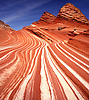 Parallel lines in the slickrock make up the landscape at Sand Cove at Coyote Buttes North at the Vermillion Cliffs National Monument in Arizona