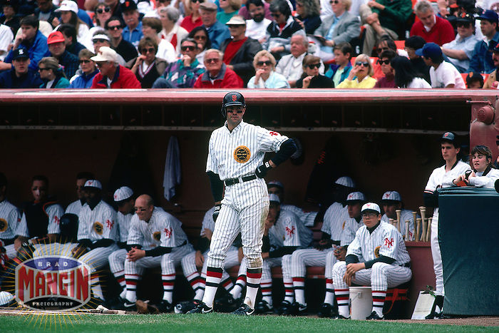 SAN FRANCISCO, CA - Will Clark of the San Francisco Giants waits in the on deck circle on Turn Back the Clock Day during a game at Candlestick Park in San Francisco, California in 1991. Photo by Brad Mangin