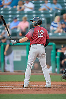 Zach Green (12) of the Sacramento River Cats at bat against the Salt Lake Bees at Smith's Ballpark on July 18, 2019 in Salt Lake City, Utah. The Bees defeated the River Cats 9-6. (Stephen Smith/Four Seam Images)