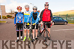 Eoin Hurlihy (Cnoc na Grí), Tom Barrett (Tralee), Shane Flynn and John Flynn (Castlegregory) at the start of the King of the Pass 5 mile cycle trial in Dingle on Friday evening.