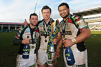 20130317 Copyright onEdition 2013©.Free for editorial use image, please credit: onEdition..(L-R) Karl Dickson, Sam Smith and James Johnston of Harlequins celebrate winning the LV= Cup Final between Harlequins and Sale Sharks at Sixways Stadium on Sunday 17th March 2013 (Photo by Rob Munro)..For press contacts contact: Sam Feasey at brandRapport on M: +44 (0)7717 757114 E: SFeasey@brand-rapport.com..If you require a higher resolution image or you have any other onEdition photographic enquiries, please contact onEdition on 0845 900 2 900 or email info@onEdition.com.This image is copyright onEdition 2013©..This image has been supplied by onEdition and must be credited onEdition. The author is asserting his full Moral rights in relation to the publication of this image. Rights for onward transmission of any image or file is not granted or implied. Changing or deleting Copyright information is illegal as specified in the Copyright, Design and Patents Act 1988. If you are in any way unsure of your right to publish this image please contact onEdition on 0845 900 2 900 or email info@onEdition.com