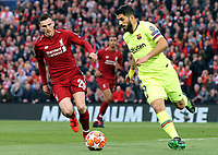 Barcelona's Luis Suarez under pressure from Liverpool's Andrew Robertson<br /> <br /> Photographer Rich Linley/CameraSport<br /> <br /> UEFA Champions League Semi-Final 2nd Leg - Liverpool v Barcelona - Tuesday May 7th 2019 - Anfield - Liverpool<br />  <br /> World Copyright &copy; 2018 CameraSport. All rights reserved. 43 Linden Ave. Countesthorpe. Leicester. England. LE8 5PG - Tel: +44 (0) 116 277 4147 - admin@camerasport.com - www.camerasport.com