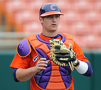 Clemson backup catcher John Nester warms up prior to a game between the Clemson Tigers and Mercer Bears on Feb. 24, 2008, at Doug Kingsmore Stadium in Clemson, S.C. Photo by: Tom Priddy/Four Seam Images