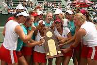 23 May 2006: Julie Scott-Thu, Megan Doheny, Anne Yelsey, Frankie Brennan, Whitney Deason, Jessica Leck, Lejla Hodzic, Alice Barnes, Celia Durkin, Joanna Kao, Theresa Logar, Jessica Nguyen, and Amber Liu (not in that order) hold the trophy after Stanford's 4-1 win over the Miami Hurricanes in the 2006 NCAA Division 1 Women's Tennis Team Championships at the Taube Family Tennis Stadium in Stanford, CA.