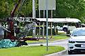 MIRAMAR, FL - MAY 12: Pieces of a small Piper PA-34 plane that crashed is loaded onto a flatbed for transport on May 12, 2020 in Miramar, Florida. The plane was seen flying low over an intersection before clipping a power line and crashing, killing the pilot, identified as 25-year-old Mark Daniel Scott, and leaving the flight instructor seriously injured. A third person on the ground was injured by debris.  ( Photo by Johnny Louis / jlnphotography.com )
