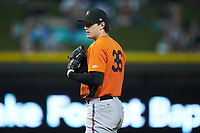 Frederick Keys starting pitcher Michael Baumann (36) looks to his catcher for the sign against the Winston-Salem Dash at BB&T Ballpark on July 26, 2018 in Winston-Salem, North Carolina. The Keys defeated the Dash 6-1. (Brian Westerholt/Four Seam Images)