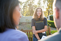 Occidental College student Emily Bell '16 shares her InternLA experience working at Food Forward during the Career Development Center's Reverse Career Fair, Thorne Hall patio, Sept. 3, 2015.<br /> (Photo by Marc Campos, Occidental College Photographer)
