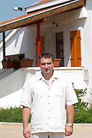 The director manager owner Veselko Cule. In front of the main winery building and offices. Hercegovina Vino, Mostar. Federation Bosne i Hercegovine. Bosnia Herzegovina, Europe.