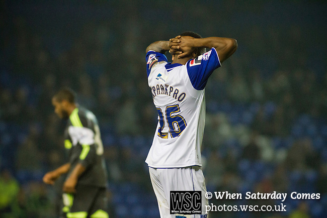 Tranmere Rovers 0 Stoke City 2, 25/09/2013. Prenton Park, Captial One Cup Third Round. Home striker Jean-Louis Akpa-Akpro holding his head in disappointment after missing a goalscoring chance during the second-half at Prenton Park as Tranmere Rovers host Stoke City in a Capital One Cup third round match. The Capital One cup was formerly known as the League Cup and was competed for by all 92 English Premier League and Football League clubs. Visitors Stoke City won the match 2-0, watched by a crowd of 5,559 spectators. Photo by Colin McPherson.