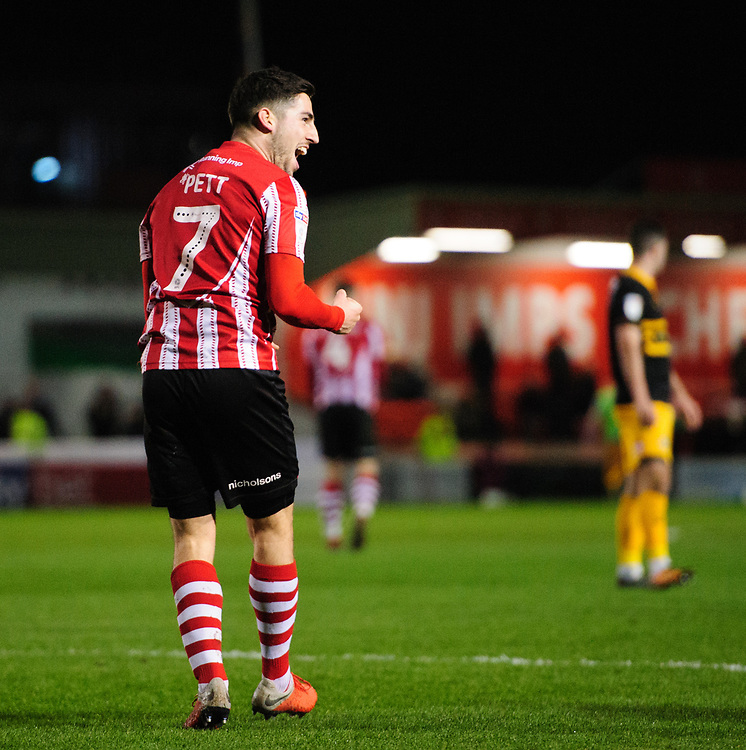 Lincoln City's Tom Pett celebrates scoring his side's third goal<br /> <br /> Photographer Chris Vaughan/CameraSport<br /> <br /> The EFL Sky Bet League Two - Lincoln City v Newport County - Saturday 22nd December 201 - Sincil Bank - Lincoln<br /> <br /> World Copyright © 2018 CameraSport. All rights reserved. 43 Linden Ave. Countesthorpe. Leicester. England. LE8 5PG - Tel: +44 (0) 116 277 4147 - admin@camerasport.com - www.camerasport.com