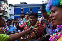 14.02.2010 Coroico(Bolivia)<br /> <br /> Musicians playing during the parade of the carnival.<br /> <br /> Musiciens en train de défiler pendant le carnaval.