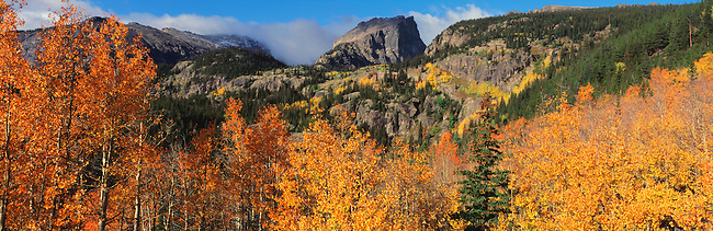 An autumn view of Hallett Peak in Rocky Mountain National Park, Colorado.