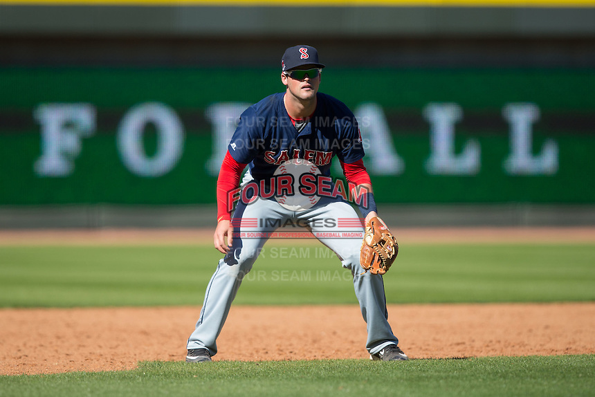 Salem Red Sox third baseman Jordan Betts (24) on defense against the Winston-Salem Dash at BB&T Ballpark on April 17, 2016 in Winston-Salem, North Carolina.  The Red Sox defeated the Dash 3-1.  (Brian Westerholt/Four Seam Images)