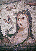 Roman Mosaic - close up of  Tethys wife of river god Oceanos. The Oceanos & Tethys Mosaic, fom The House of Oceanos, Zeugma.  2nd - 3rd century AD. Zeugma Mosaic Museum, Gaziantep, Turkey.<br /> <br /> The Oceanos and Tethys Mosaic is the floor mosaic of the shallow pool of the House of Oceanos. In this mosaic, which belongs to the Early Roman Empire Period, Oceanos, the river god who is the origin of life, and his wife Tethys are represented. At the middle of the mosaic which is surrounded by a geometric triple tress borders there are Oceanos and his wife Tethys. Around them there are Eros figures riding various species of fish and dolphins symbolising the abundance of the sea. The most represented attributes of Oceanos are snake and fish.<br /> <br />  in the mosaic, Oceanos is seen with chelas. Those chelas are among his most characteristic attributes. Though the tail of an eel is represented as his feet in the figures on ceramics, within the scope of the art of mosaic he is represented as a bust and only with the chelas on his head such as this one. His wife Tethys is right by his side and represented with wings upon her forehead. Between them, there is the dragon called Cetos which is a mythological sea creature. As is seen in the coins of Zeugma, the Euphrates River is expressed as a dragon. Besides these two figures, on the top-right of the mosaic, there is a young male figure which is thought to be Pan, the patron of fishermen and shepherds. The fact that Eros figures and Pan which are the side figures are located outward implies that the pool is built to allow walking around. <br /> <br /> The expression of the Oceanos as not an ocean but a river surrounding the world: By that the water, which vapours with the heat of the sun and then gives life to the nature by becoming rain, and which after being used by the nature reaches again the sea via the rivers is expressed. The water becomes aware of itself and its function by that cycle. This phenomenon is represented in the mosaic panel as the div