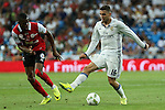 Stade de Reims's Traore and Real Madrid's Kovacic during the XXXVII Bernabeu trophy between Real Madrid and Stade de Reims at the Santiago Bernabeu Stadium. August 15, 2016. (ALTERPHOTOS/Rodrigo Jimenez)