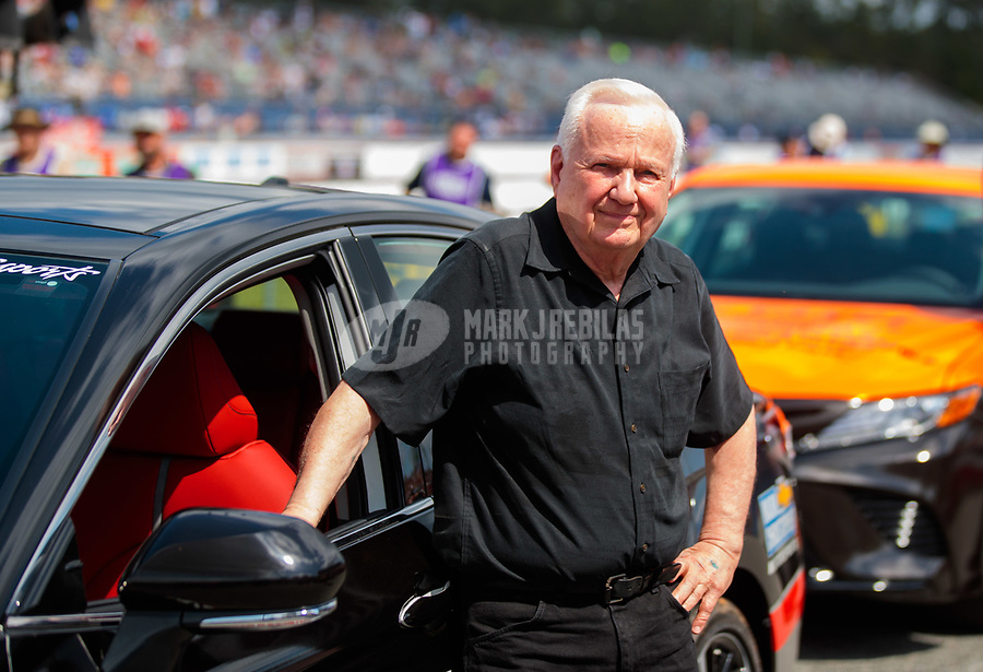 "Mar 15, 2019; Gainesville, FL, USA; NHRA driver Warren Johnson during the Toyota ""Unfinished Business"" legends race at qualifying for the Gatornationals at Gainesville Raceway. Mandatory Credit: Mark J. Rebilas-USA TODAY Sports"