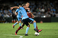 28th February 2020; Netstrata Jubilee Stadium, Sydney, New South Wales, Australia; A League Football, Sydney FC versus Western Sydney Wanderers; Rhyan Grant of Sydney  and Mitchell Duke of Western Sydney Wanderers compete for the ball