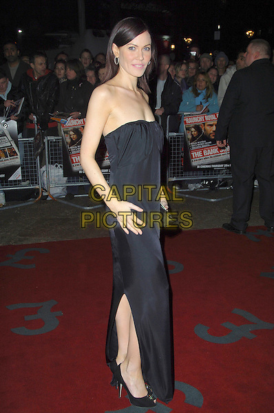 "LINZI STOPPARD.""The Bank Job"" - UK film premiere.Odeon West End, London, England..February 18th, 2008   .full length strapless black dress slit split side.CAP/CAS.©Bob Cass/Capital Pictures."