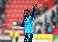 Jordy Hiwula of Fleetwood Town waves to the fans after the Sky Bet League 1 match between Rotherham United and Fleetwood Town at the New York Stadium, Rotherham, England on 7 April 2018. Photo by Leila Coker.