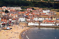 Aerial of beach and tourist town of  Scarborough, North Yorkshire, England