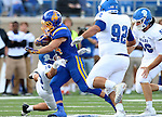 BROOKINGS, SD - SEPTEMBER 10:  Brady Mengarelli #44 from South Dakota State breaks past Caz Zyks #32 from Drake during their game at the Dana J. Dykhouse Stadium Saturday night in Brookings. (Photo by Dave Eggen/Inertia)