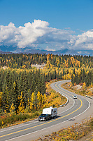 Autumn foliage along the george parks highway, Alaska Range mountains, Interior, Alaska.