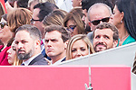 (L to R) President of Vox Santiago Abascal, President of Ciudadanos Albert Rivera and President of Partido Popular Pablo Casado during the Military parade because of the Spanish National Holiday. October 12, 2019.. (ALTERPHOTOS/ Francis Gonzalez)