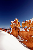USA, Utah, Bryce Canyon City, Bryce Canyon National Park, snow covered Hoodoos along the Navajo Loop Trail