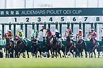 Jockeys compete the Audemars Piguet Queen Elizabeth II Cup horse race (2000m) at Sha Tin race course in Hong Kong on April 30, 2017. (Photo by Marcio Rodrigo Machado / Power Sport Images)
