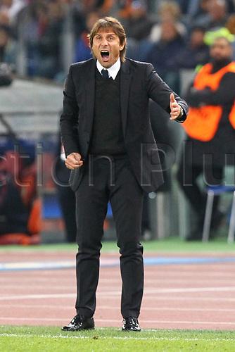 31st October 2017, Stadio Olimpico, Rome, Italy; UEFA Champions League, Roma versus Chelsea;  Antonio Conte coach of Chelsea on the touchline
