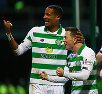5th February 2020; Fir Park, Motherwell, North Lanarkshire, Scotland; Scottish Premiership Football, Motherwell versus Celtic; Callum McGregor celebrates with Christopher Jullien of Celtic after making it 3-0 to Celtic in the 75th minute