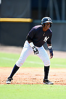 GCL Yankees 1 outfielder Miguel Mojica (77) leads off first during the first game of a doubleheader against the GCL Braves on July 1, 2014 at the Yankees Minor League Complex in Tampa, Florida.  GCL Yankees 1 defeated the GCL Braves 7-1.  (Mike Janes/Four Seam Images)