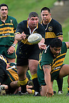A. McLean clears the ball back to J. Callander from a defensive ruck. Counties Manukau Premier club rugby game between Bombay & Pukekohe played at Bombay on the 19th of May 2007. Pukekohe led 24 - 0 at halftime & went on to win 30 - 22.