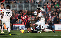 Manchester United's Paul Pogba (right) battles with Bournemouth's Jefferson Lerma (left) <br /> <br /> Photographer David Horton/CameraSport<br /> <br /> The Premier League - Bournemouth v Manchester United - Saturday 3rd November 2018 - Vitality Stadium - Bournemouth<br /> <br /> World Copyright &copy; 2018 CameraSport. All rights reserved. 43 Linden Ave. Countesthorpe. Leicester. England. LE8 5PG - Tel: +44 (0) 116 277 4147 - admin@camerasport.com - www.camerasport.com