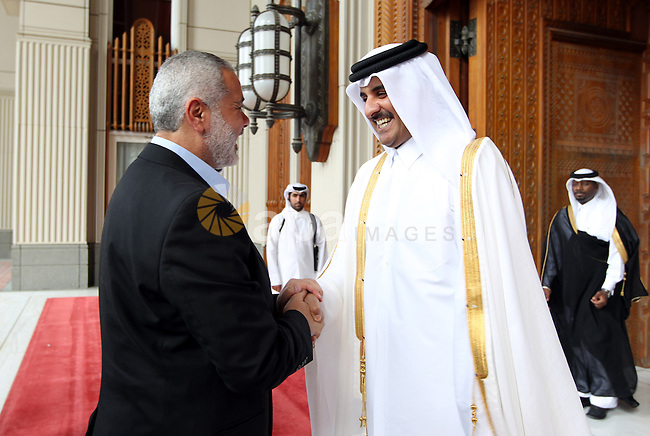 Palestinian Prime Minister in Gaza Strip, Ismail Haniyah meets with Crown Prince of Qatari, in the Qatari capital of Doha on Feb. 01, 2012. Photo by Mohammed Al-Ostaz.