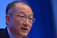 Washington, DC - April 16, 2015: World Bank President Jim Yong Kim holds a press availability April 16, 2015 at the International Monetary Fund Headquarters in the District of Columbia during the annual Spring Meeting of the World Bank Group/IMF.   (Photo by Don Baxter/Media Images International)