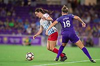 Orlando, FL - Saturday August 05, 2017: Taylor Comeau, Maddy Evans during a regular season National Women's Soccer League (NWSL) match between the Orlando Pride and the Chicago Red Stars at Orlando City Stadium.