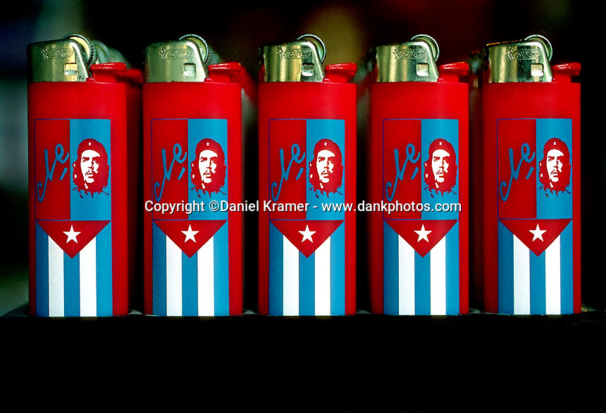Alberto Korda's iconic 1960 photograph of Che Guevara is the world's most reproduced photo and is shown here printed onto lighters at a Havana hotel gift shop in 1998.