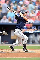 Charleston RiverDogs shortstop Hoy Jun Park (1) swings at a pitch during a game against the Asheville Tourists at McCormick Field on July 4, 2017 in Asheville, North Carolina. The Tourists defeated the RiverDogs 2-1. (Tony Farlow/Four Seam Images)