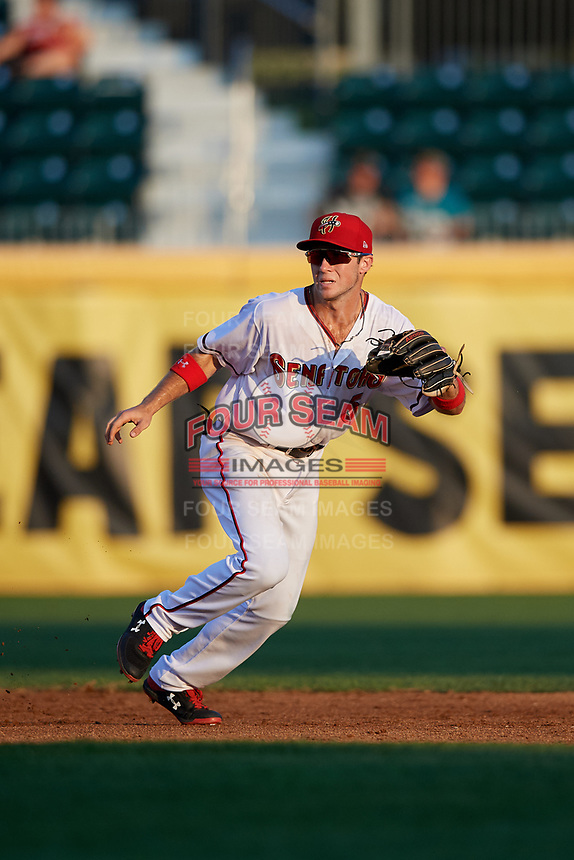Harrisburg Senators shortstop Carter Kieboom (5) during a game against the Erie SeaWolves on August 29, 2018 at FNB Field in Harrisburg, Pennsylvania.  Harrisburg defeated Erie 5-4.  (Mike Janes/Four Seam Images)