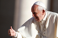 Pope Francis gives his thumb up to the faithful as he arrives to attend the weekly general audience in St. Peter's Square at the Vatican City, October 16, 2019. UPDATE IMAGES PRESS/Riccardo De Luca<br /> <br /> STRICTLY ONLY FOR EDITORIAL USE