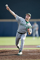 Eastern Michigan Eagles pitcher Luke Devenney (2) delivers a pitch to the plate during the NCAA baseball game against the Michigan Wolverines on May 16, 2017 at Ray Fisher Stadium in Ann Arbor, Michigan. Michigan defeated Eastern Michigan 12-4. (Andrew Woolley/Four Seam Images)