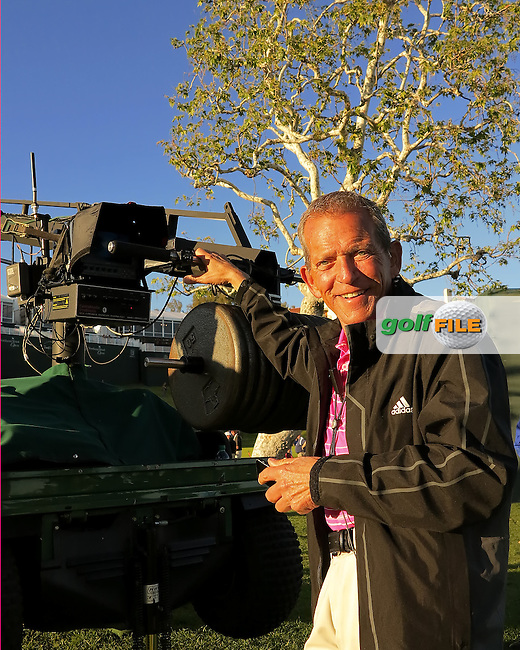 15 FEB 13  It takes the skill of camera operator BOB the builder to operate the jib at The Northern Trust Open at Riviera Country Club in Pacific Palisades,California. photo credit :  (kenneth e. dennis/kendennisphoto.com)