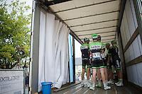 Team Belkin in bulk (on the back of a truck serving as start podium)<br /> <br /> 54th Druivenkoers 2014<br /> Huldenberg - Overijse (Belgium): 196km