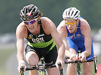 09 JUN 2007 - TREDEGAR, UK -  Tim Don, leads Andrew Johns, on his way to winning the National Elite Mans Triathlon Championships which were held as part of the second round of the Corus Elite Triathlon Series. (PHOTO (C) NIGEL FARROW)